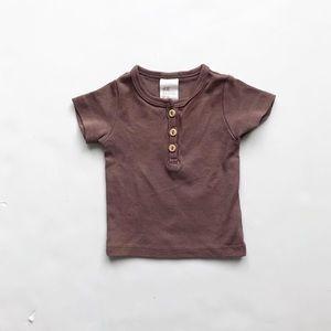 H&M brown short sleeve Henley top EUC 1-2 months